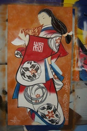 Japanese Print: Porträt einer Kurtisane stehen. Thibaut Di Credico