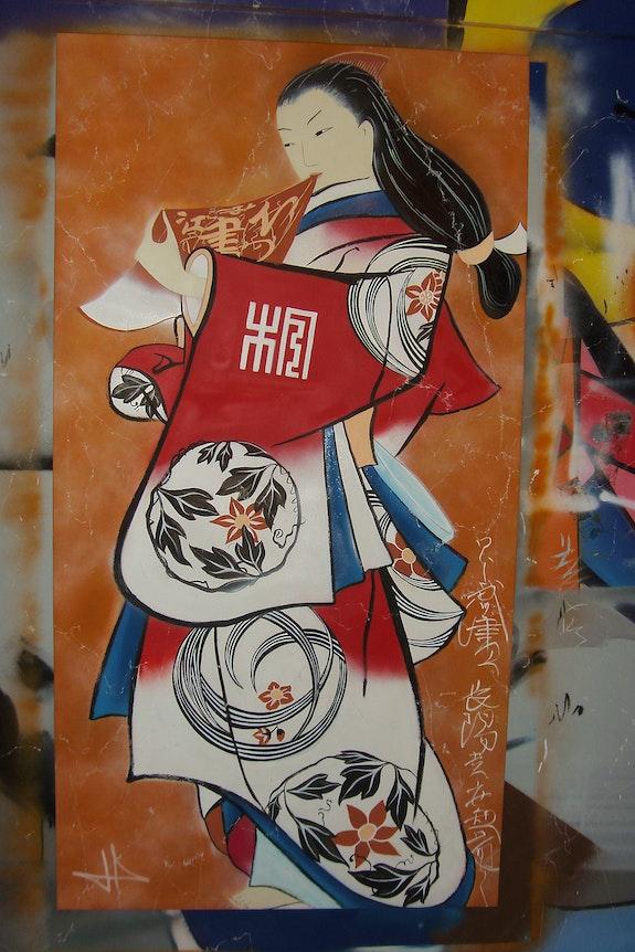 Japanese Print: Retrato de una cortesana de pie. Thibaut Di Credico Thibaut Di Credico
