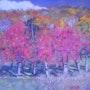 Trois cerisiers aux couleurs de l'automne.. Françoise-Elisabeth Lallemand