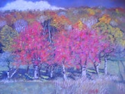 Three cherry trees in autumn colors.. Françoise-Elisabeth Lallemand