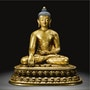 Buddha Vajrasana Gilt Copper. Dream Art Gallery