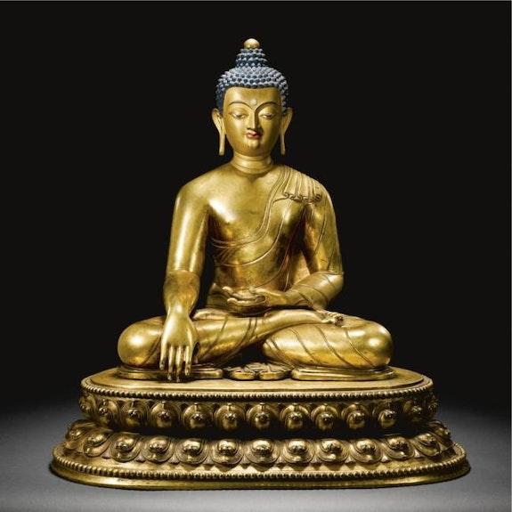 Buddha Vajrasana Gilt Copper.  Dream Art Gallery