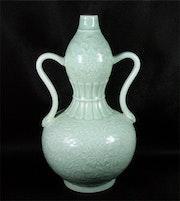 Imperial Qianlong Celadon Flask. Dream Art Gallery