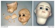 Kopf der Puppe aus Porzellan.