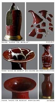 Vase Blut Rindfleisch, China.