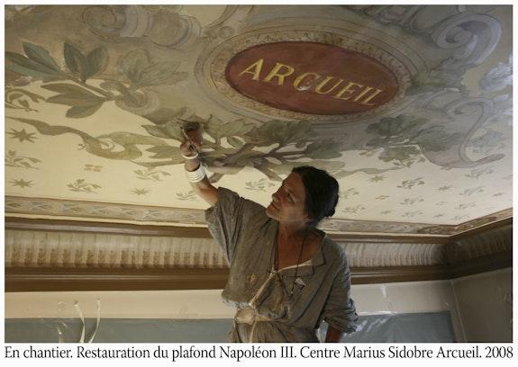 La restauración del lugar, el techo Napoleon III, en el centro Marius Sidobre, Arcueil.  Catherine Burgues