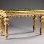 Superbe console en bois sculpté et doré. Galerie Charles Sakr