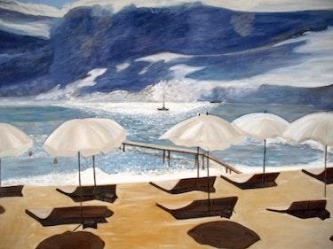 Himmel Gewitter am Strand von Pampelonne. Louise Bressange