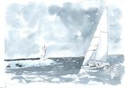 Sailboat off port-camargue - 30 - france - 10/06.