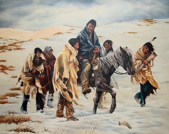 Chief Joseph on the path of surrender.  Chevallier Frank