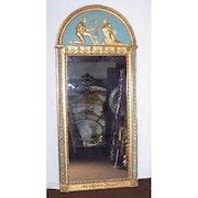 Spiegel Arche peind blau und vergoldetem Holz. Through the looking glass