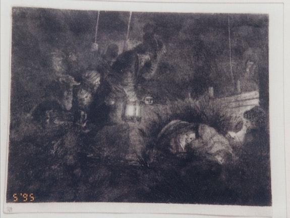 La quema de grabado por Rembrandt - Adoración de los Pastores.  Davide Colombo