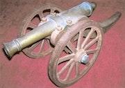 Handmade miniature cannon. La Bisquine