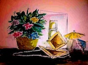 Flower and gift, watercolour.
