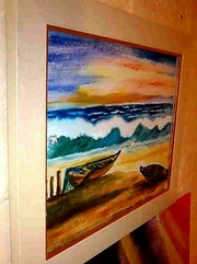 Lonely sea, oil paintings.