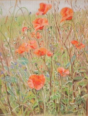 Poppies by the roadside.. Françoise-Elisabeth Lallemand
