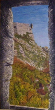The watchtower of Tarragnoz-Besançon Citadel-25 - oil on canvas (50x100).
