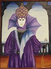 Venetian masks in purple dress.