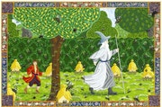 Bilbo & Gandalf in Beorn's garden. Malcolm Lindley