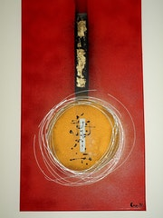 Modern abstract canvas Asia round red gold, gold leaf.
