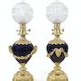Par de lámparas de aceite en bronce dorado y porcelana azul llamado «Sevres» decimonoveno. Concept Antiques