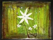 Flor de Arte, 20 x 24, medio acrílico y mixta sobre laminado. De l'osier