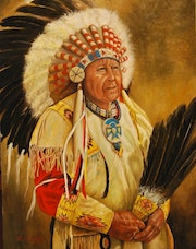 Great Indian Chief Native American Study.