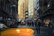 «Estambul», la pintura al óleo, calle de la ciudad en invierno (años 90).