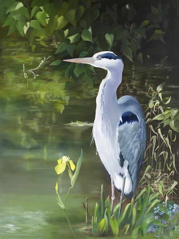 Heron à l'étang. Gerhard Winkelmann Gerhard Winkelmann