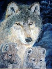 Oil Pastel Original - wolf family.