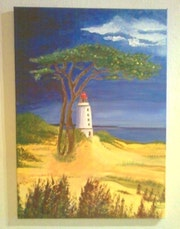 Hiddensee lighthouse in the evening light.