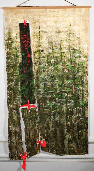 La mort de la licorne, 110x60cm, fixation baguette en bois de hêtre.. Virginie Héry Baron Samdi