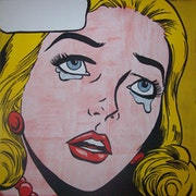 Untitled (Cry22) - Pop Art image in the style of Roy Lichtenstein. Rob Wood