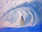 Making waves in the ocean.