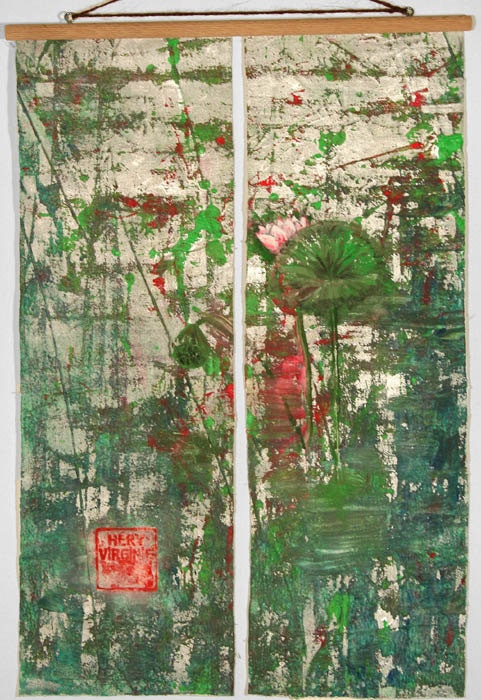 Contemplation4, kakemono en deux petits panneaux. Virginie Héry Baron Samdi
