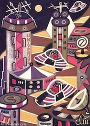 Universo de la ciudad - pintura original - Jacqueline_Ditt. Universal Arts Galerie Studio Gmbh