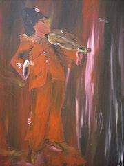 El violinista en su expresión se vuelve el color.