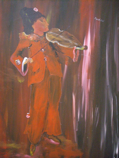 The violinist in his speech raised the color. Monnain Simone Monnain