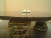 Granite coffee table with a marble lotus (symbolizing the element of water).