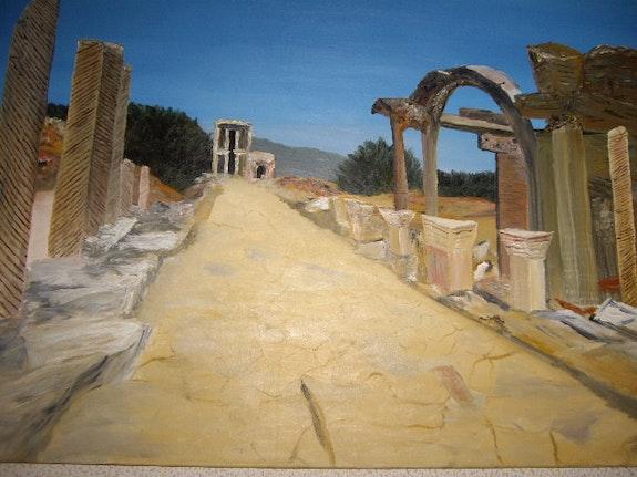 Las ruinas del Asia Menor, están reviviendo los tiempos antiguos, en un azul celeste. Randuineau Simone Monnain