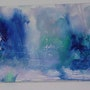 "Encaustic / canvas gold. Signed nila ""abstract blue"" 80x40. Nila"