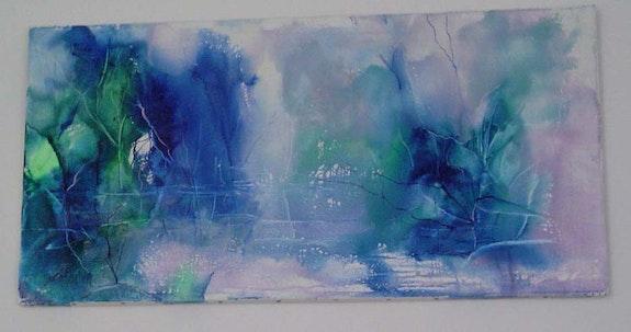 Encaustique/toile or. Signé nila «abstrait bleu» 80x40. Nila (Lafon) Nila