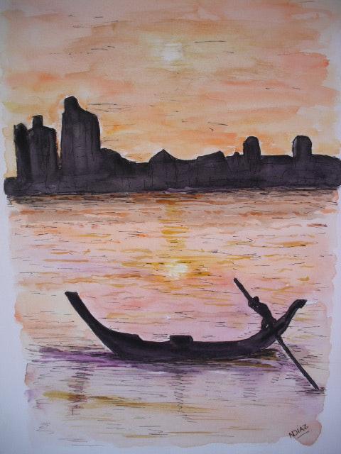Puesta de sol en Venecia.  Nicole Diaz