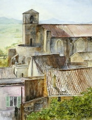 Laudun, roofs and church.