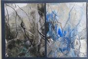 Cubist signed original watercolor still life nila + Beveled mat 40x50.