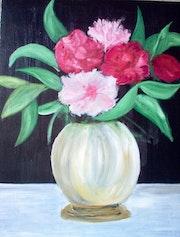Blumenstrauß in weißen Vase. Bernard Sutter