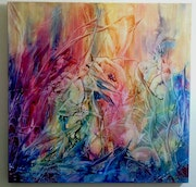 Encaustic on canvas signed original abstract nila.