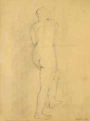Female nude standing.