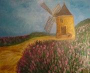 Huile sur toile le moulin aux bruyères.