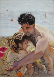 Father and daughter at the beach.. Françoise-Elisabeth Lallemand
